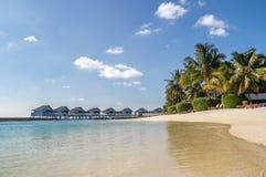 海滩平房,马尔代夫 免版税图库摄影