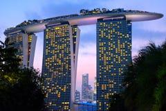 海滨广场海湾在新加坡铺沙旅馆 免版税库存图片