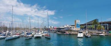 海滨广场端口Vell在巴塞罗那 库存图片