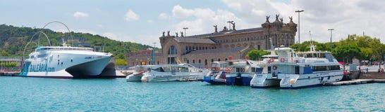 海滨广场端口Vell在巴塞罗那 免版税库存图片