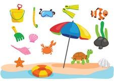 海滩戏弄动画片 图库摄影