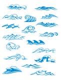 海洋或海挥动,海浪并且飞溅集合 免版税库存照片