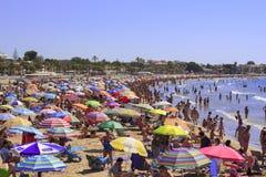 海滩拥挤了 图库摄影