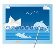 海洋拼贴画 库存图片