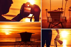 海滩摄影拼贴画 免版税库存照片
