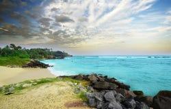 海滩旁边斯里兰卡在晚上 免版税库存图片