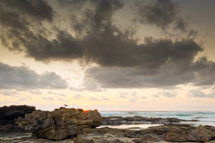 海滩日出 库存照片