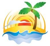 海滩日落商标 免版税库存照片