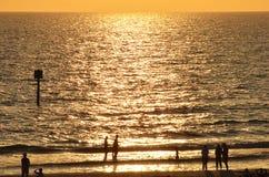 海滩日落在佛罗里达 免版税库存图片