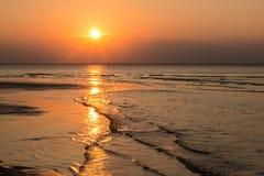 海滩日落弗吉尼亚 免版税图库摄影