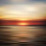 海洋日落被弄脏的风景 免版税库存图片