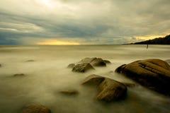 海滩日落 图库摄影