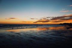 海滩日落 免版税库存照片