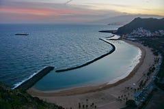 海滩黄昏视图 库存图片