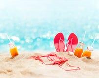 海滩桃红色比基尼泳装拖鞋汁液假日概念 免版税图库摄影
