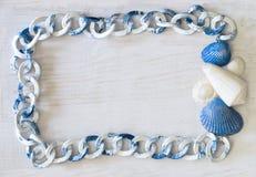 海洋框架白蓝色色谱 免版税库存照片