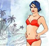 海洋棕榈树的秀丽妇女靠岸,手拉 abstract background paper 蓝色云彩图象彩虹天空向量 库存图片