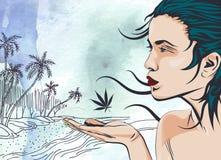 海洋棕榈树的秀丽妇女靠岸,手拉 abstract background paper 蓝色云彩图象彩虹天空向量 免版税库存图片