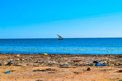 海滩污染了 库存照片