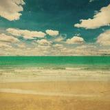 海滩海和难看的东西帆布纹理葡萄酒 图库摄影