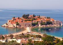 海滩海岛montenegro圣徒stefan查阅 图库摄影