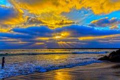 海洋海滩日落 免版税库存图片