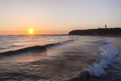 海洋港口码头日出海滩 免版税图库摄影