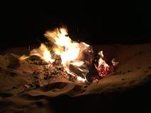 海滩火夜 库存照片