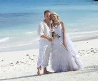 海滩热带新娘的新郎 库存图片