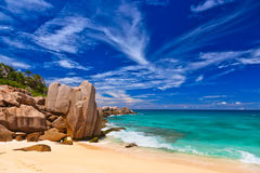 海滩热带的塞舌尔群岛 图库摄影