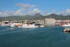 海货物口岸 路易斯・毛里求斯端口 免版税库存照片