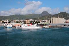 海货物口岸 路易斯・毛里求斯端口 免版税库存图片