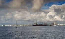 海洋货物端口在Klaipeda,立陶宛 免版税库存图片
