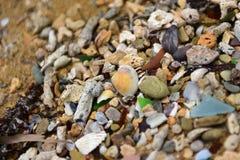 海玻璃海滩在冲绳岛,日本 免版税库存照片