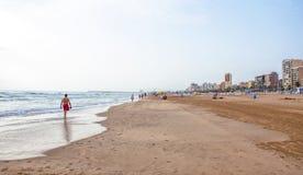 海滩甘迪亚,西班牙 库存照片