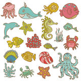 海洋生物乱画 库存照片