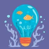海洋生物动画片在蓝色电灯泡的 库存照片