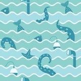 海洋生物在波浪无缝的背景中 免版税库存图片