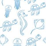 海洋生物无缝的背景 免版税库存图片