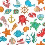 海洋生物的无缝的样式 免版税库存图片