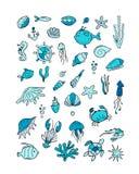 海洋生物,剪影的汇集您的设计的 皇族释放例证