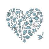 海洋生物,心脏您的设计的形状剪影 向量例证