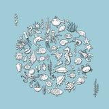 海洋生物,您的设计的剪影 向量例证