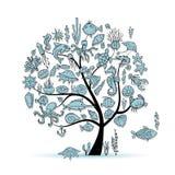 海洋生物,您的设计的概念树 皇族释放例证