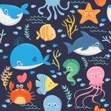 海洋生活的无缝的样式 向量例证