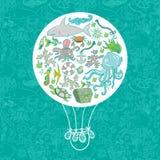 海洋生活空气baloon 免版税图库摄影