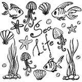 海洋生活集合 乱画被画的现有量 向量例证