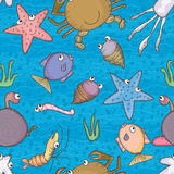 海洋生活水无缝的Pattern_eps 库存图片