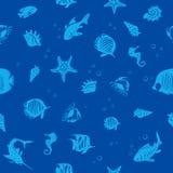 海洋生活seamles样式 图库摄影