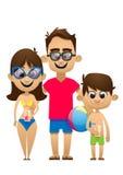 去海滩的一个愉快的家庭的传染媒介例证为 免版税图库摄影